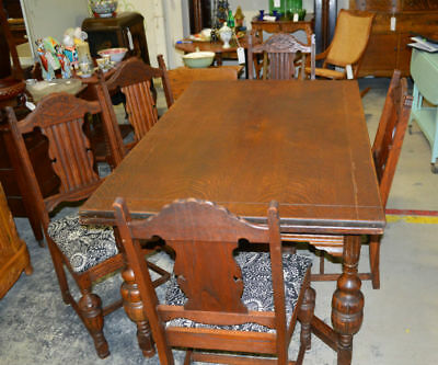 Antique English Oak Stretcher Base Dining Table with 5 Chairs