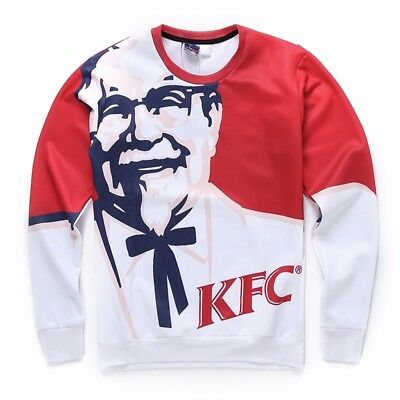 Hiphop Spooky 3D KFC Old Man Mens Hoodie T-shirt Casual Round Top Jumpers Coat
