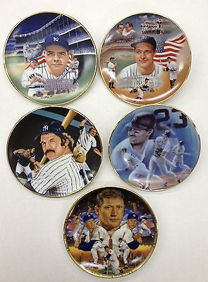 5 NY Yankees Sports Impressions Mini Plates Ruth, Gehrig, Mantle, Munson...