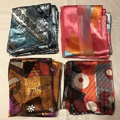 "4 Scarves Oblong Picasso Bright Colorful Metallic 60""X13"" Shiny Vtg Scarf Lot"