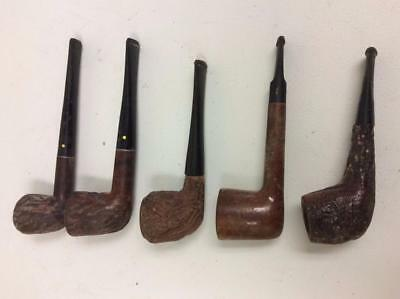Lot of 5 Vintage Wood Tobacco Smoking Pipes Estate Willard Imported Briar