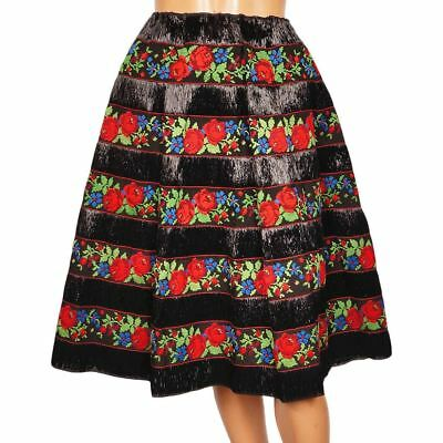 Vintage 1950s Black Raffia Straw Skirt with Embroidered Floral Cotton Ribbon - M