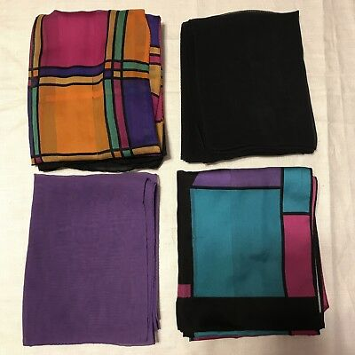 4 Scarves Oblong bright Colorful Blocks Sheer Black Purple Vtg Scarf Lot