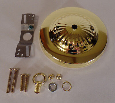 "5 1/4"" Brass Plated Steel Ceiling Canopy Kit For Fixtures w/ Hardware #CA801"