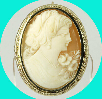 Antique Victorian cameo pin pendant brooch 18K yellow gold carved shell 17.6 GM!