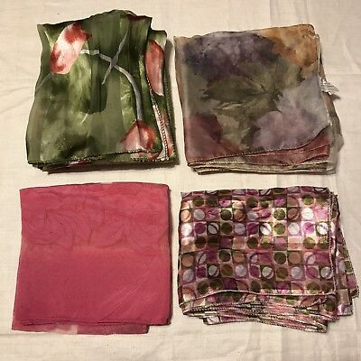 4 Scarves Oblong Pink Tulip Pastel Sheer Dot Green Vtg Scarf Lot