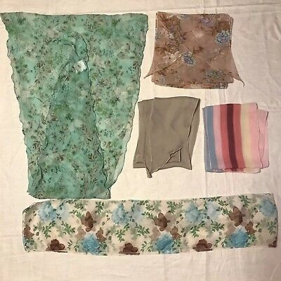 5 Scarves Oblong Pastel Stripe Floral Wing Tip Green Lot Ladies Silk