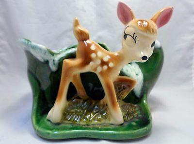 Vintage Pottery American Bisque USA Bambi Doe Planter
