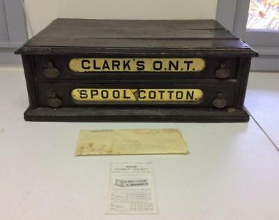 Antique Clarks ONT 2-Drawer Spool Cotton Thread Cabinet Store Display