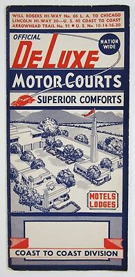 Vintage Route 66 Road Map Lincoln Highway DeLuxe Motor Courts Wig Wam Motel 1939