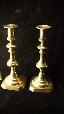 Antique Pair Cast Brass Push Up Candlesticks Candle Holders, lot #226