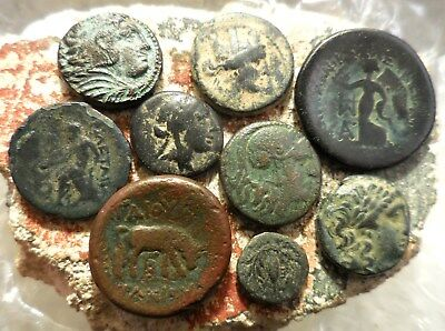 Lot of 9 VF - EF Ancient Greek Coins! Nice lot!  Largest 24 mm.