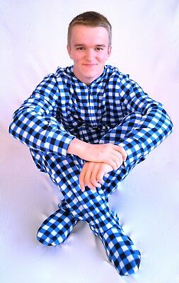 Unisex Adult GÜD NIGHT - Blue Plaid Footed One Piece Pajamas - Adult