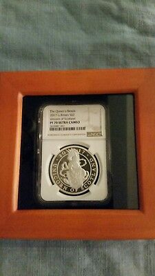 2017 Queens Beasts Silver PROOF Unicorn NGC PF70 LOW COA #0478 W/ Custom Case.