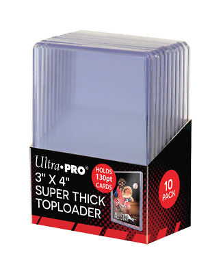 """Ultra Pro 3"""" x 4"""" 130pt Super Thick Toploader Card Protectors - Packet of 10"""