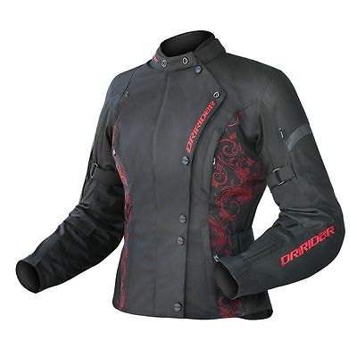 Dri-Rider Vivid Ruby Jacket- Black and Patterned Red/10 (Small)