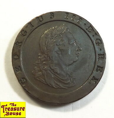 1797 Great Britain (UK) Large Size Copper 2 P TWO PENCE King George III Coin NR!