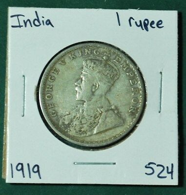 India British One 1 Rupee Silver 1919 King George V KM 524 Nice Coin Ag Foreign
