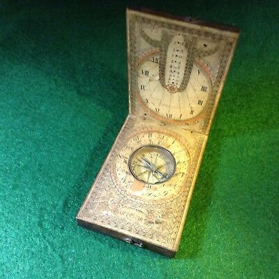 Antique Diptych Sundial Compass Made In Bavaria Germany 1800