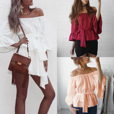 Off Shoulder Women Sexy Long Sleeve Shirt Lace Up Blouse Loose Cotton Top Shirt