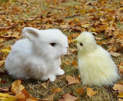 Set of 4 Realistic Lifelike Easter Baby Chicks Synthetic Furry Farm Animal Prop