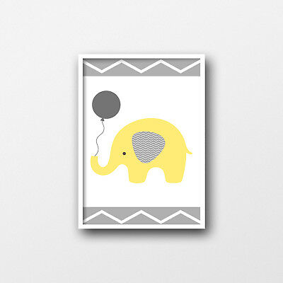Chevron Elephant Print - Grey & Yellow - Nursery Decor - Kids Prints