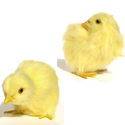 Set of 2 Realistic Lifelike Easter Baby Chicks Synthetic Furry Farm Animal Prop