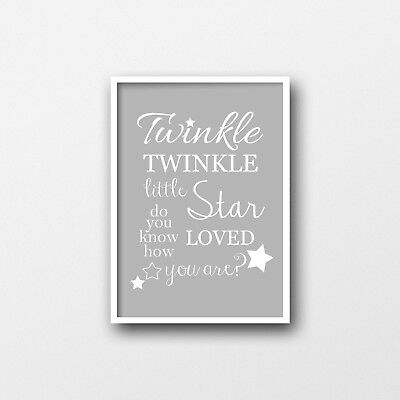 Twinkle Twinkle Print - Grey & White - Nursery Decor - Wall Art Prints