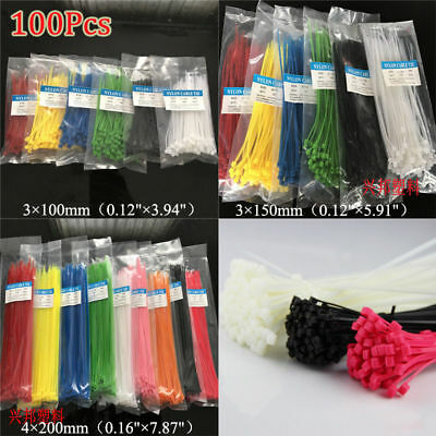 100× Nylon Self-locking Cable Tie Network Cabling Tag Nylon Zip Marked Ties