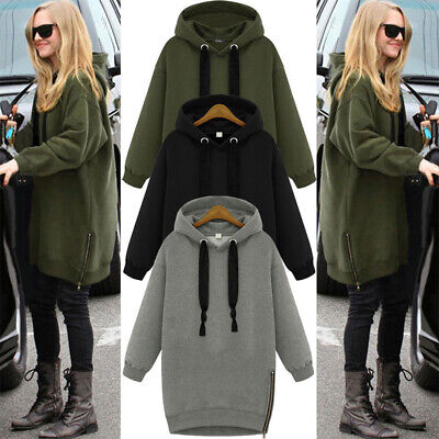 UK Women Oversized Warm Hooded Hoodies Zip Side Loose Pullover Sweatshirt Dress