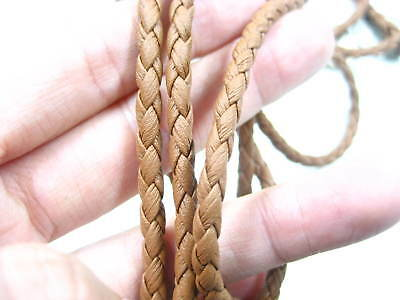 4mm nature color faux Leather cord necklace bracelet 4py Braided Leather thong