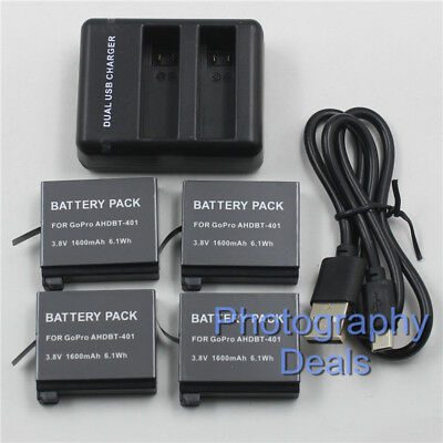 1600mAh Battery For GoPro AHDBT-401 Battery + Dual Charger For GoPro HD Hero 4