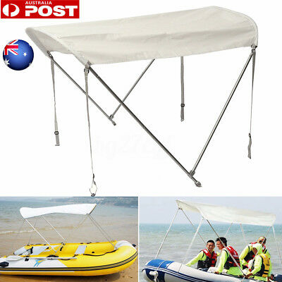 2 Bow Anti-UV Max.100cm Boat Top Canopy Cover w/ Rear Pole Sock Boot Waterproof