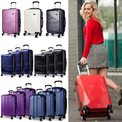 Hard Shell Cabin Suitcase 4 Wheel Luggage Trolley Case Lightweight