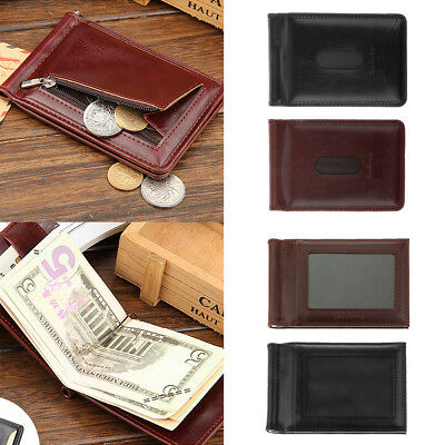 Mens PU Leather Money Clip Slim Wallets ID Credit Card Holder Coin Bag Bifold
