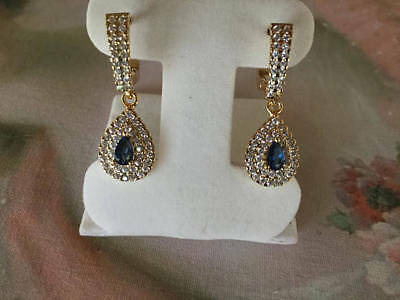 Antique vintage Gold Earrings with Blue and White Sapphires Art Deco ear rings