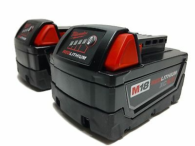 2  Milwaukee M-18 Red Lithium XC 5.0 AH Extended Capacity Battery 48-11-1852