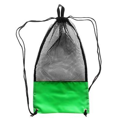 Mesh Drawstring Bag with Shoulder Strap for Swimming Scuba Diving Green