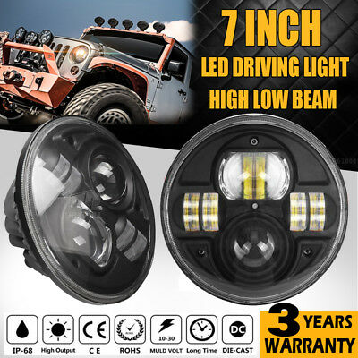 2X 7INCH H4 100W CREE LED Driving Work Light High Low Beam Offroad Headlight HID