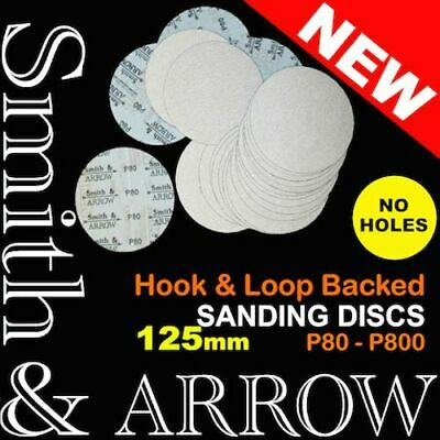 "25x 125mm 5"" HOOK AND LOOP NO HOLE SANDING DISCS PAD SANDPAPER ORBITAL VELCRO #"