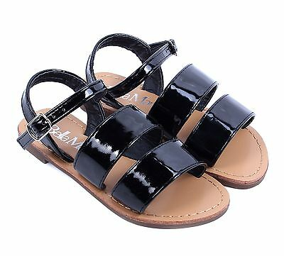 76fa6055a Black Cute Strappy Buckle Kids Girls Sandals Flats Youth Casual Shoes Size 9