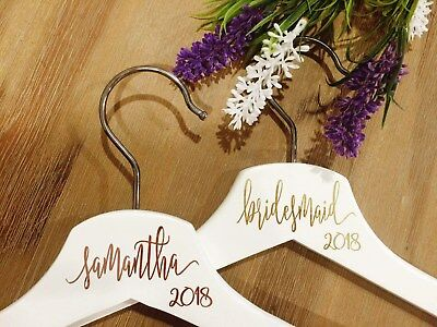 DIY personalised coat hanger decal sticker with wedding title or name and the ye