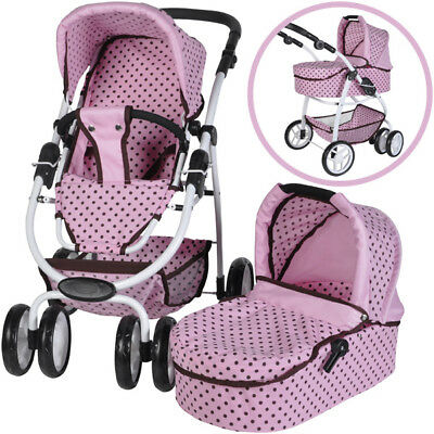 Knorrtoys Puppenwagen Coco 2in1 (Pink Mokka Dots)