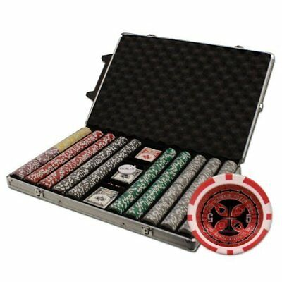 Brybelly 1000-Count Ultimate Poker Chip Set in Rolling Aluminum Case, 14gm