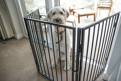 3 Metre Dog Gate 5 Panel Step-through Freestanding Screen Pet Metal Folding Door