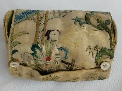 Qing Dynasty embroidered robe sleeve panel made into a sewing pouch roll Chinese