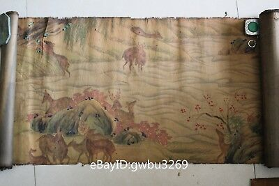 Rare Marks Old Chinese Very Long Silk cloth hand-painted herd of deer Map