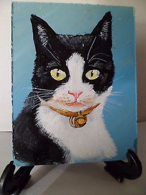 Cat B&w- Hand Painted On Tile With Easel By Artist W. W. Hoffert