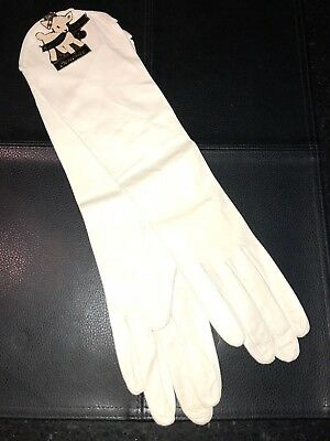 """Vintage WHITE Kid Leather 15"""" Long Crescendoe OPERA GLOVES 7 1/2 NEW WITH TAG"""