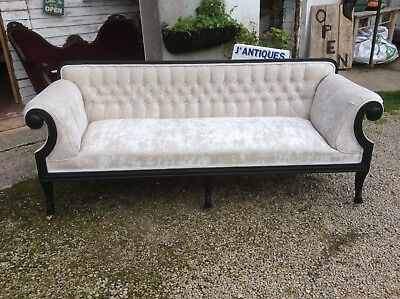 Victorian Settee Sofa Scroll Armed Buttoned Newly Upholstered In Oyster Velvet